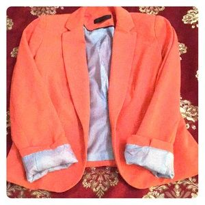 Orange Blazer with inner blue and white stripes